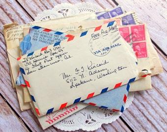 Old Vintage Envelopes & Letters / Vintage Ephemera / 5 Pieces / Old Letter Ephemera / Junk Journal