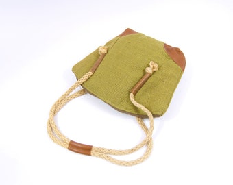 70s Burlap Oversized Shoulder Bag - Green and Brown Purse