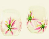 Painted Pink Stargazer Lilies Stemless Wine Glasses Set of 4 - Beverage Iced Tea Water Glasses Housewarming Gift Ideas Drinkware