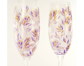 Elegant Lavender and Gold Hand Painted CRYSTAL Champagne Flutes, Set of 2 - Custom 50th Anniversary Gift Wedding Toast Glass Set