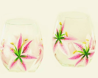 Pink Stargazer Lily Stemless Wine Glasses Set of 4 - Hand Painted Wine Glasses Summer Housewarming Gift Ideas