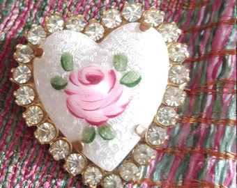 Hand Painted Rhinestone Valentines Day Heart Pin from the 1950s
