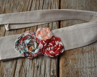 Headwrap Headband // Linen and Aqua, Red & Peach Roses // Fabric Headband