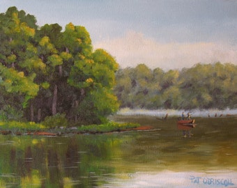 "Original oil painting, fishing art, sunrise on the lake, 11""x14"""