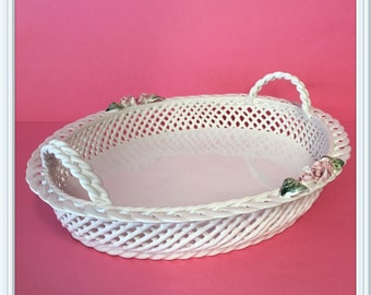 Portugal Handled Serving Tray, Large, Woven, Lattice, Ceramic, 3 lbs., Pink Roses, Fruit Bowl, Bread Basket, Vintage 1980's
