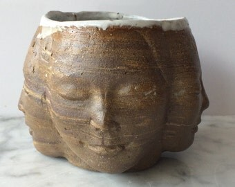 Chawan Four Winds Tea Bowl Face Sculpture Cup Marbled Buddha Head
