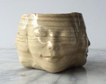 Chawan Four Winds Tea Bowl Face Sculpture Cup Marbled Buddha Head
