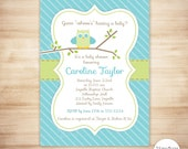 Owl Baby Shower Invitation - Baby Boy Shower - Owl Stripes Invite - Green and Turquoise Owl - EDITABLE - INSTANT DOWNLOAD