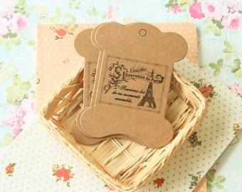 Souvenirs de Paris Kraft bobbin ribbon thread yarn card spool 5pc set