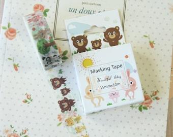 Happy Forest Animals Beautiful Thing cartoon deco washi masking tape