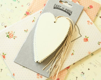 large plain Ivory CREAM HEART Tags with zigzag edges