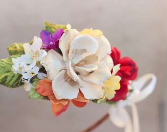 bridal flower crown, pine cone rose, autumn flower wreath, red rose flower piece, woodland wedding