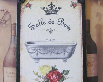 French Bathroom Decor Sign, Shabby Chic, RED and Black, Paris Decor, Red Roses, Yellow Rose, Paris Bathroom, Vintage Bathroom, Salle de Bain