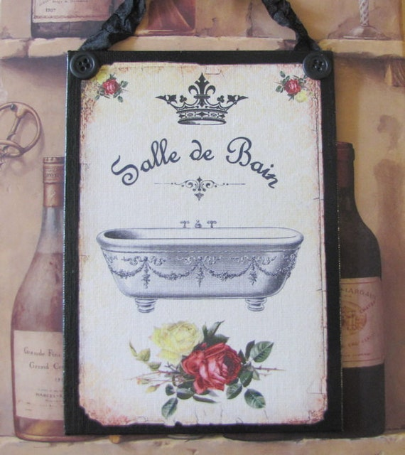 French bathroom decor sign shabby chic red and black paris for French shabby chic bathroom ideas