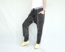 Unisex Ninja Harem Funky Layer Raw Edge & Contrasting Color Seam Charcoal Cotton Jersey Pants With 4 Pockets