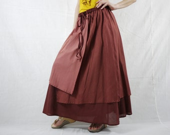 3 Color Tone Skirt...Triple Layered Light & Dark Terra Cotta Light Cotton Lawn Skirt With 1 Patched Pocket - Size 10 To Size 18