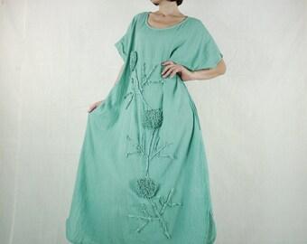Bohemian Handmade Curved Hem Scoop Neck Mint Green Light Cotton Kaftan Dress With Flaoral Applique Women Oversize Dress Sundress - SM705