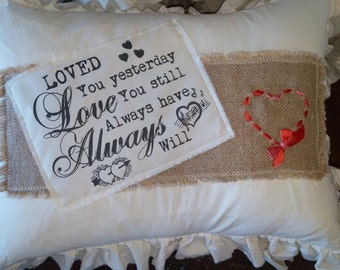 """Pillow Slip Cover Sham Burlap Muslin PILLOW CASE """"scrapbook"""" love you still"""
