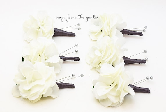Charcoal Grey & White Silk White Hydrangea Boutonniere Buttonhole Groom Groomsmen Wedding Flower Package - Customize Your Wedding Colors