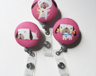 Puppy ID Badge Holder Retractable in Cute Puppy Dog, Dog Badge Reel, Nurse ID Badge Holder, Teacher Gift, Ready to Ship