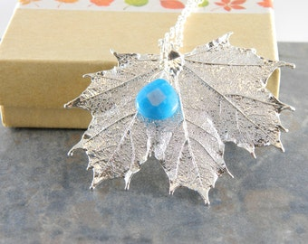 Silver Plated Maple Leaf Pendant, 30 inch Long Chain Necklace with Angelite