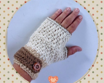Beige Fingerless Gloves, Crochet Gloves, Fashion Gloves ,Winter Wrist Warmers