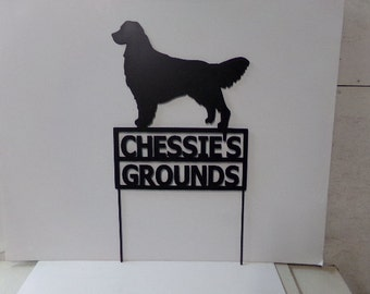 Golden Retriever Custom  Sign  Metal Yard Silhouette with Stakes