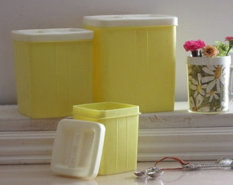 vintage canister set -  soft yellow