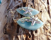 Sea Side Starfish earrings, real stone chip, blue, assymetrical