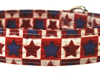Red and Blue Stars - Patriotic Dog Collar