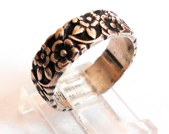 Antique Sterling Silver Forget Me Not Floral Repousse Eternity Wedding Band Ring Size 6
