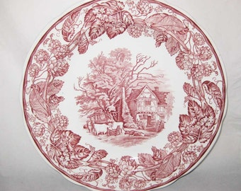 """Red Spode Archive Collection Cranberry Dinner Plate """"Rural Scenes"""" 10-1/2"""""""