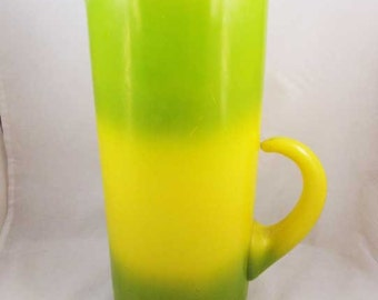 Vintage Blendo West Virginia Glass Pitcher Green and Yellow 1950s Retro  Mid Century Modern