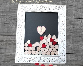 Dropbox  shabby chic  top drop hearts guestbook  wedding drop box guestbook frame Wedding guestbook  drop box guestbook wedding advice book