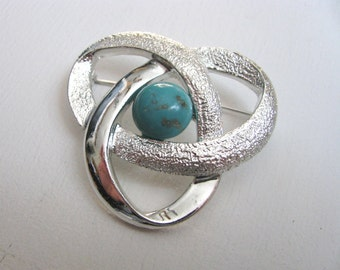 Vintage silver geometric brooch pin with blue stone Orbit by Sarah Coventry
