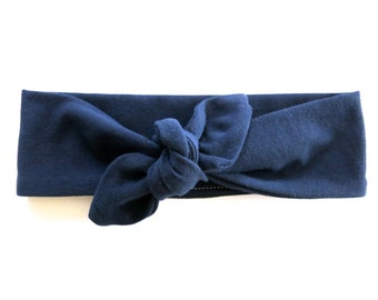 Navy Blue Baby Headband - Top Knot Headband - Stretch Headband - Vintage Style - Boho Baby Modern Baby - Dark Denim Blue - Midnight