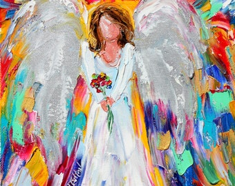 Angel painting original oil abstract palette knife impressionism on canvas fine art by Karen Tarlton