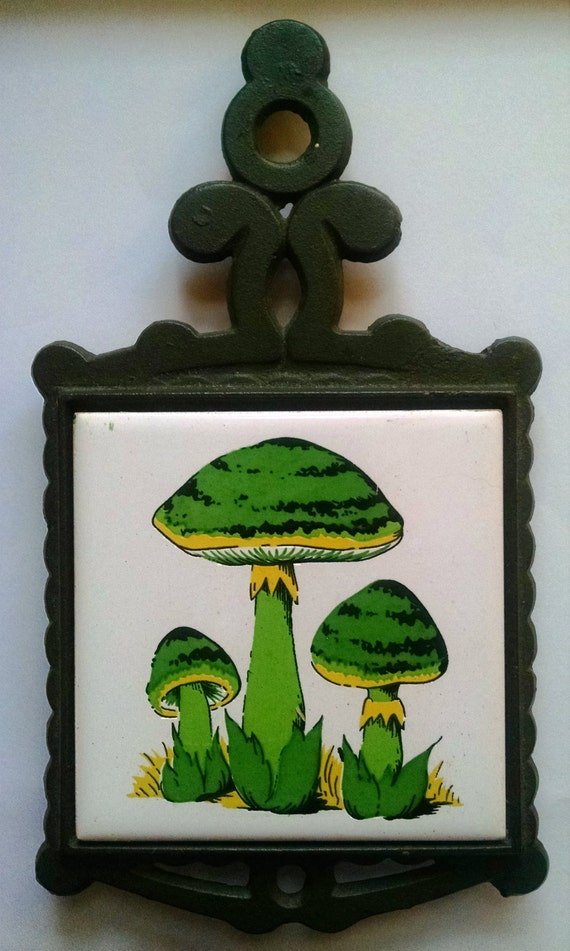 Mushroom Cast Iron Trivet Vintage Wrought Iron Ceramic Painted Hot ...