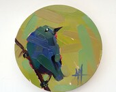 Indigo Bunting no. 12 Original Bird Oil Painting by Angela Moulton 6-inch Round Maple Panel