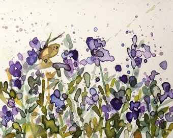 Alfalfa and Butterfly Original Floral Watercolor Painting on Aquabord Panel by Angela Moulton 8 x 10 inch