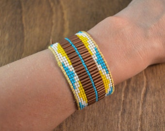 Beaded Cuff Bracelet in Leather & Silk with Pyramid Pattern in Copper and Sky Blue