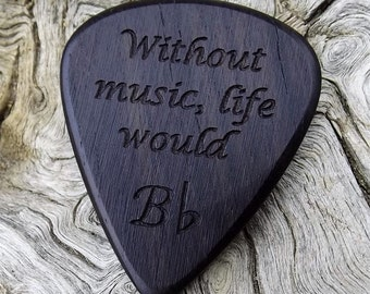 Wood Guitar Pick - Premium Quality - Handmade With African Blackwood - Laser Engraved Both Sides - Actual Pick Shown - Artisan Guitar Pick