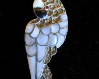 Sterling MOP Crystal Rhinestone Cockatoo Bird Brooch