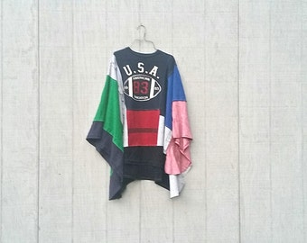 USA Football funky poncho upcycled recycled patchwork ladies clothing sweatshirt spring jacket by CreoleSha