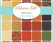 "WELCOME FALL Charm Pack - Deb Strain for Moda - 5"" Precut Fabric Squares - Fall Autumn Leaves Fabric Charms - Pumpkins Gourds Harvest Fabric"