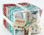 SALE DAYSAIL Fat Quarter Bundle - Bonnie and Camille for Moda - 18 x 22 Fabric Squares - Nautical Fabric - Vintage Floral