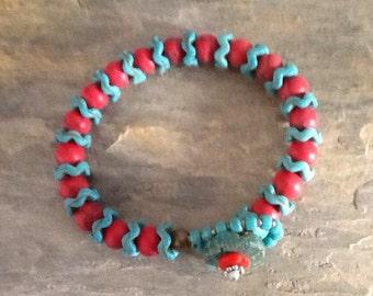 Ethnic Turquoise Coral Bracelet, Boho Turquoise and Red Bracelet, African Vertebrae Beads, Boho Chic, Indian Style