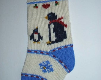 Penguins Christmas Stocking personalized hand knit. Baby first Christmas stocking. Christmas decoration. Holiday home decor. Ready to ship