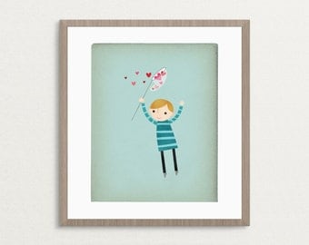 Catching Hearts - Boy - Customizable 8x10 Archival Art Print