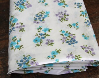 Vintage Flat Sheet vintage twin size flat bed sheet bedding decor retro shabby chic blue purple floral vintage bed sheet bed linens fabric